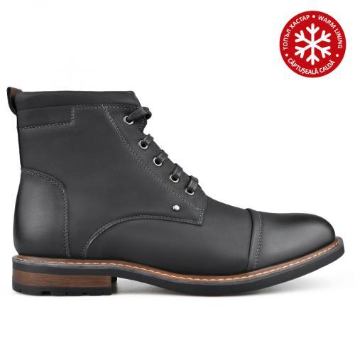 мъжки ежедневни боти черни с топъл хастар 0135746