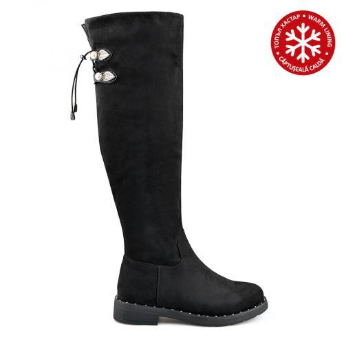 дамски ежедневни ботуши черни с топъл хастар 0135711