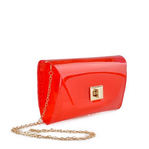 дамска  елегантна чанта червена прозрачна 0136769