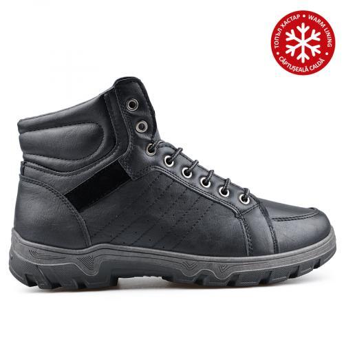 мъжки ежедневни боти черни с топъл хастар 0135116