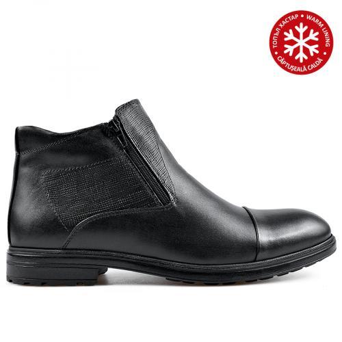 мъжки елегантни боти черни с топъл хастар 0135887