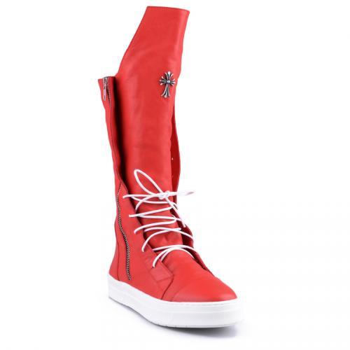 дамски ежедневни ботуши червени с топъл хастар 0126707