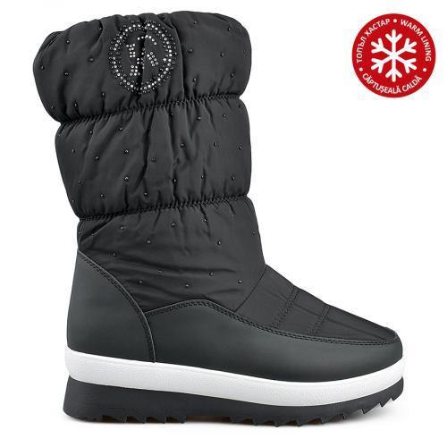 дамски ежедневни  ботуши черни с топъл хастар 0135539