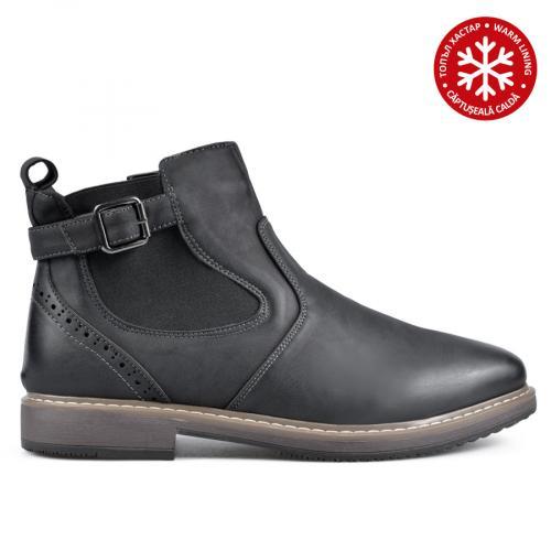 мъжки ежедневни боти черни с топъл хастар 0135743