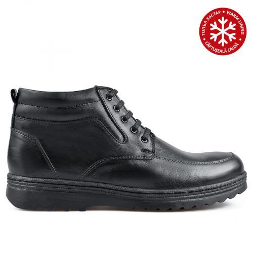 мъжки ежедневни боти черни с топъл хастар 0135889
