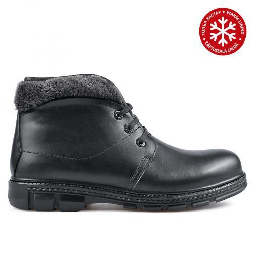 мъжки ежедневни боти черни с топъл хастар 0135883