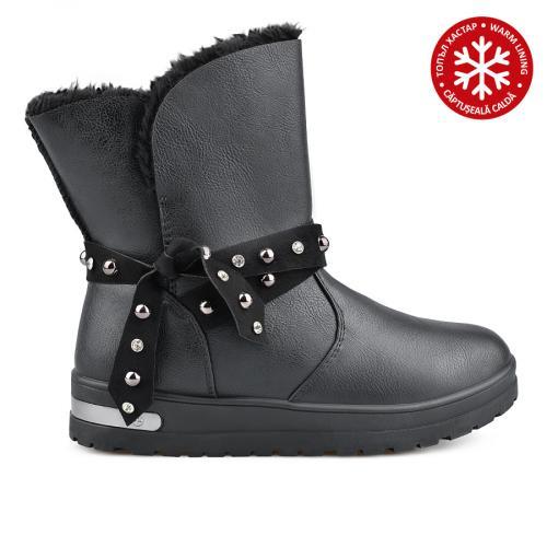 дамски ежедневни  боти черни с топъл хастар 0136048