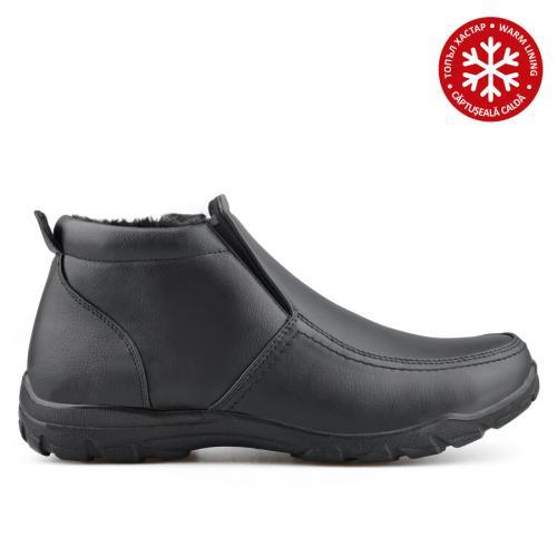 мъжки ежедневни  боти черни с топъл хастар 0135806