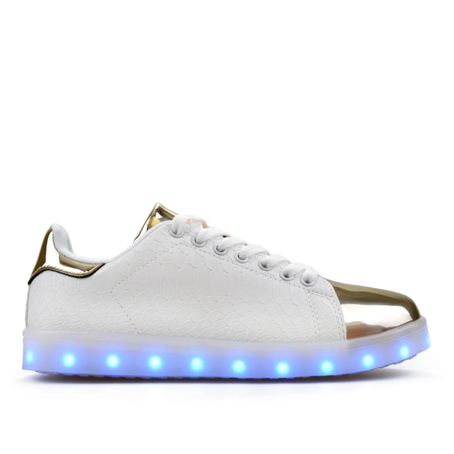 b7ae38a5e1f Дамски кецове със светеща подметка бели 0128143